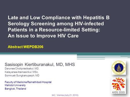 Late and Low Compliance with Hepatitis B Serology Screening among HIV-infected Patients in a Resource-limited Setting: An Issue to Improve HIV Care Abstract.