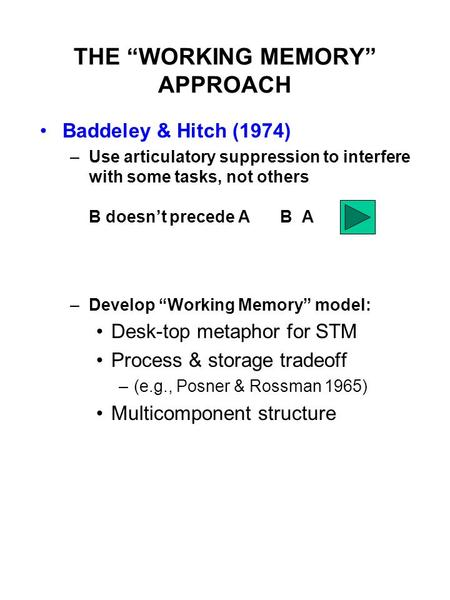 "THE ""WORKING MEMORY"" APPROACH Baddeley & Hitch (1974) –Use articulatory suppression to interfere with some tasks, not others B doesn't precede AB A –Develop."