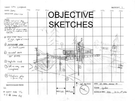 OBJECTIVE SKETCHES For approximately the next hour, you will be given a block of instruction on how to complete an Objective Sketch and be expected to.