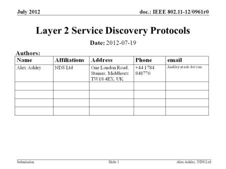 Doc.: IEEE 802.11-12/0961r0 Submission July 2012 Alex Ashley, NDS LtdSlide 1 Layer 2 Service Discovery Protocols Date: 2012-07-19 Authors: