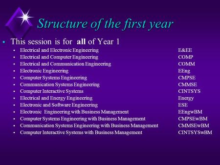 Structure of the first year  This session is for all of Year 1  Electrical and Electronic Engineering E&EE  Electrical and Computer Engineering COMP.