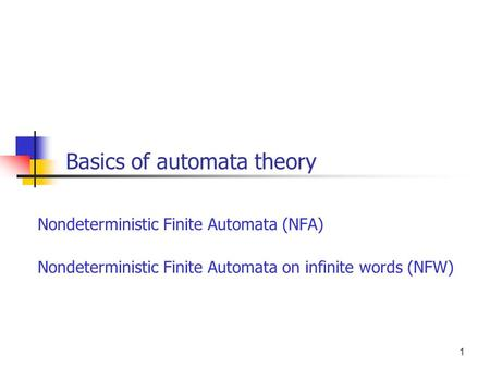Basics of automata theory