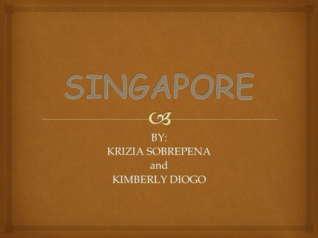 BY: KRIZIA SOBREPENA and KIMBERLY DIOGO. CAPITAL: SINGAPORE AIRPORT: CHANGI AIRPORT IATA CODE: SIN DOCUMENTS REQUIRED: PASSPORT CURRENCY: SINGAPORE DOLLAR.