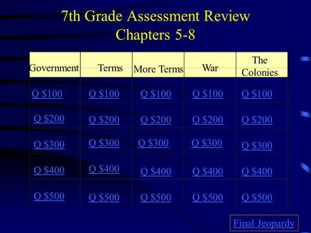 7th Grade Assessment Review Chapters 5-8 GovernmentTerms More Terms War The Colonies Q $100 Q $200 Q $300 Q $400 Q $500 Q $100 Q $200 Q $300 Q $400 Q.