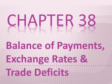 Balance of Payments, Exchange Rates & Trade Deficits.