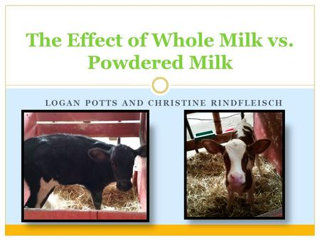 LOGAN POTTS AND CHRISTINE RINDFLEISCH The Effect of Whole Milk vs. Powdered Milk.