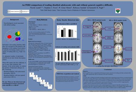 Yale University School of Medicine An fMRI comparison of reading disabled adolescents with and without general cognitive difficulty Nicole Landi 1,2,3,