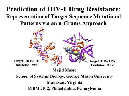 Prediction of HIV-1 Drug Resistance: Representation of Target Sequence Mutational Patterns via an n-Grams Approach Majid Masso School of Systems Biology,