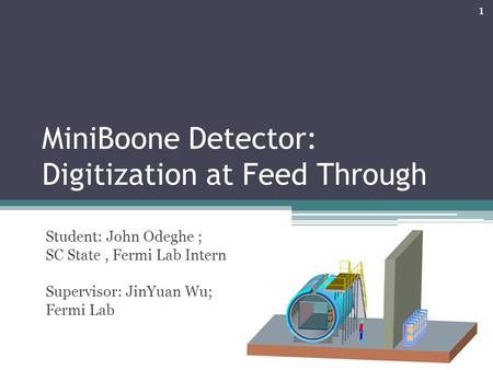 MiniBoone Detector: Digitization at Feed Through Student: John Odeghe ; SC State, Fermi Lab Intern Supervisor: JinYuan Wu; Fermi Lab 1.