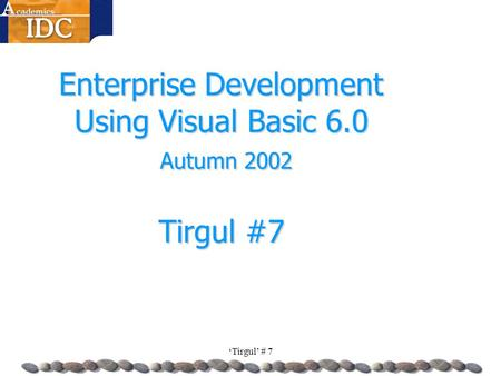 'Tirgul' # 7 Enterprise Development Using Visual Basic 6.0 Autumn 2002 Tirgul #7.