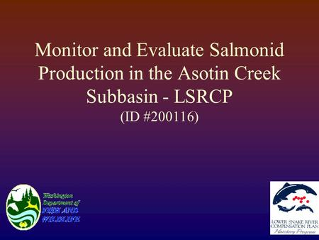 Monitor and Evaluate Salmonid Production in the Asotin Creek Subbasin - LSRCP (ID #200116)