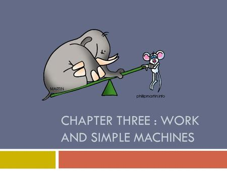 CHAPTER THREE : WORK AND SIMPLE MACHINES. Lesson 1: Work and Power  What is work?  Work is the transfer of energy to an object by a force that makes.