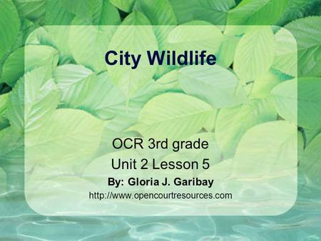 City Wildlife OCR 3rd grade Unit 2 Lesson 5 By: Gloria J. Garibay