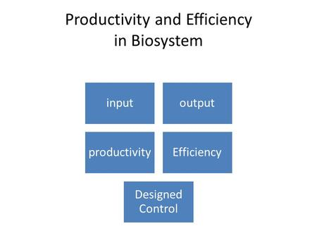 Productivity and Efficiency in Biosystem inputoutput productivityEfficiency Designed Control.