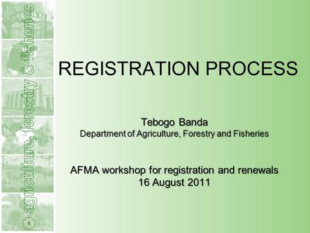 1 Tebogo Banda Department of Agriculture, Forestry and Fisheries AFMA workshop for registration and renewals 16 August 2011 REGISTRATION PROCESS.