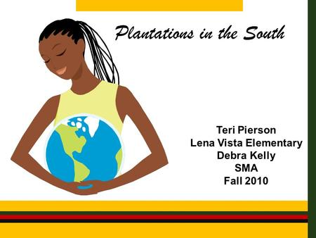 Plantations in the South Teri Pierson Lena Vista Elementary Debra Kelly SMA Fall 2010.