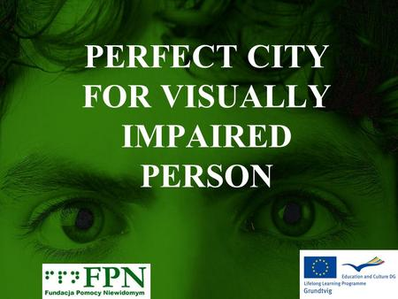 PERFECT CITY FOR VISUALLY IMPAIRED PERSON. A FEW WORDS… Main groups of problems visually impaired person: infrustructure public communication activities.