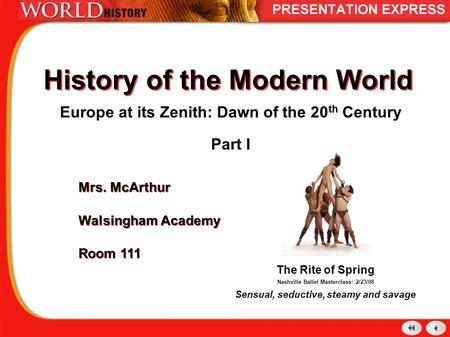 History of the Modern World Europe at its Zenith: Dawn of the 20 th Century Part I Mrs. McArthur Walsingham Academy Room 111 Mrs. McArthur Walsingham Academy.
