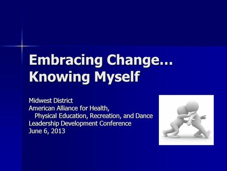 Embracing Change… Knowing Myself Midwest District American Alliance for Health, Physical Education, Recreation, and Dance Physical Education, Recreation,