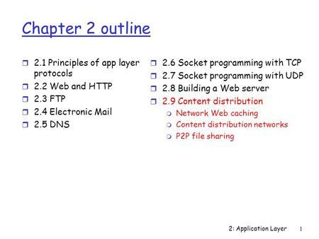 2: Application Layer1 Chapter 2 outline r 2.1 Principles of app layer protocols r 2.2 Web and HTTP r 2.3 FTP r 2.4 Electronic Mail r 2.5 DNS r 2.6 Socket.