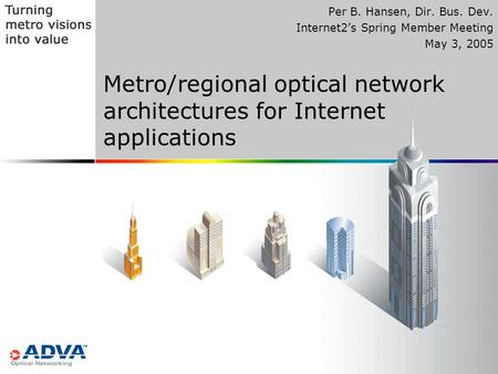Metro/regional optical network architectures for Internet applications Per B. Hansen, Dir. Bus. Dev. Internet2's Spring Member Meeting May 3, 2005.