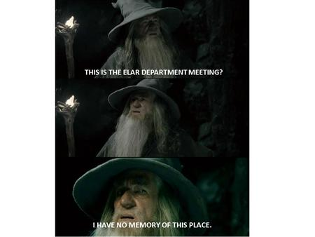 THIS IS THE ELAR DEPARTMENT MEETING? I HAVE NO MEMORY OF THIS PLACE.