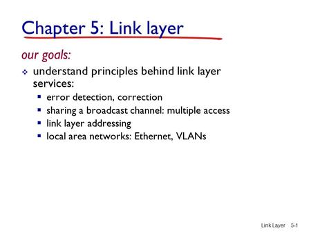Link Layer5-1 Chapter 5: Link layer our goals:  understand principles behind link layer services:  error detection, correction  sharing a broadcast.