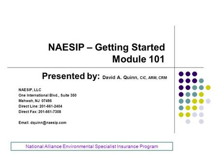 NAESIP – Getting Started Module 101 Presented by: David A. Quinn, CIC, ARM, CRM NAESIP, LLC One International Blvd., Suite 350 Mahwah, NJ 07495 Direct.