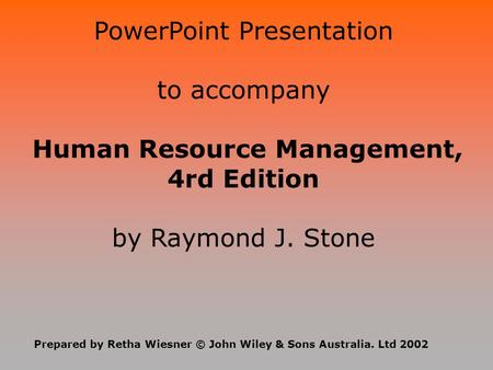 PowerPoint Presentation to accompany
