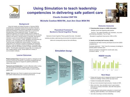 Using Simulation to teach leadership competencies in delivering safe patient care Claudia Grobbel DNP RN Michelle Costlow MSN RN, Jean Ann Dean MSN RN.