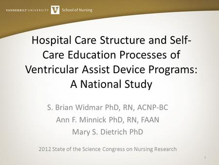 Hospital Care Structure and Self- Care Education Processes of Ventricular Assist Device Programs: A National Study S. Brian Widmar PhD, RN, ACNP-BC Ann.