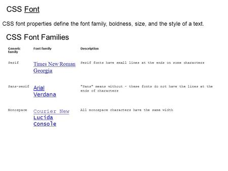 CSS Font CSS font properties define the font family, boldness, size, and the style of a text. CSS Font Families Generic family Font familyDescription Serif.
