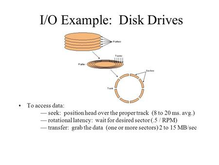 I/O Example: Disk Drives To access data: — seek: position head over the proper track (8 to 20 ms. avg.) — rotational latency: wait for desired sector (.5.