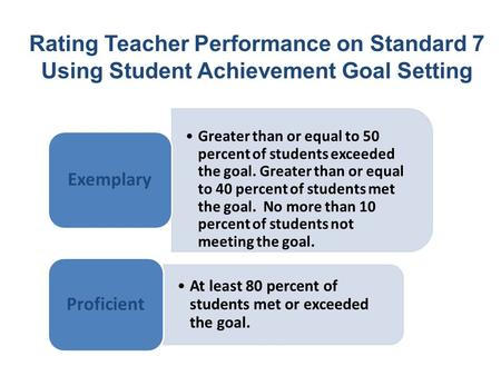 Rating Teacher Performance on Standard 7 Using Student Achievement Goal Setting Greater than or equal to 50 percent of students exceeded the goal. Greater.