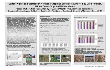 Surface Cover and Biomass in No-tillage Cropping Systems as Affected by Crop Rotation, Winter Cover Crop, and Winter Weeds Forbes Walker 1, Nick Ryan 1,
