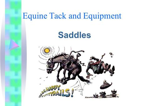 Equine Tack and Equipment Saddles. Western Saddle The tree –Also called the frame because it provides the structure of the saddle. –May be wood, aluminum,