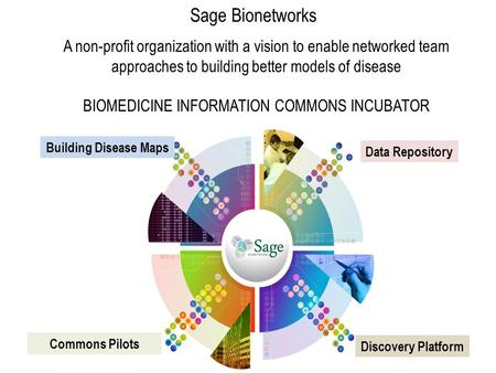 Sage Bionetworks A non-profit organization with a vision to enable networked team approaches to building better models of disease BIOMEDICINE INFORMATION.