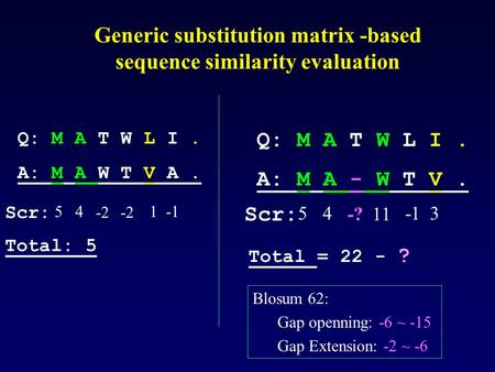 Generic substitution matrix -based sequence similarity evaluation Q: M A T W L I. A: M A - W T V. Scr: 45 -?11 3 Scr: 45 -2 1 Q: M A T W L I. A: M A W.