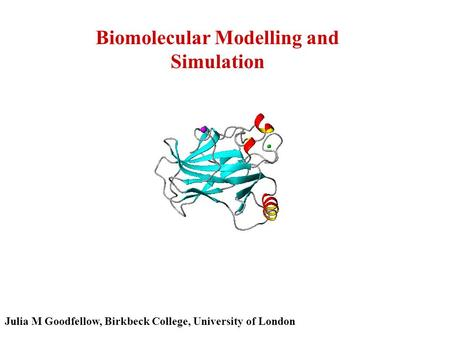 Biomolecular Modelling and Simulation Julia M Goodfellow, Birkbeck College, University of London.