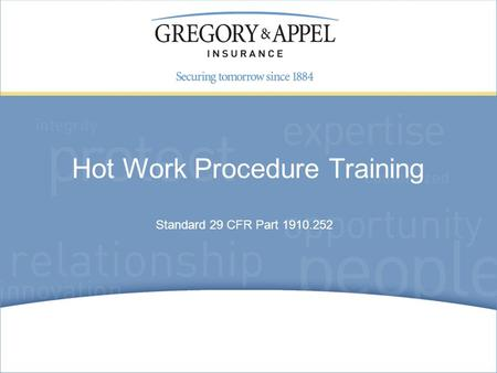 Hot Work Procedure Training