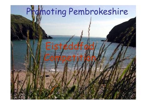 Promoting Pembrokeshire Eisteddfod Competition. To create a series of digital posters (slideshow) to attract visitors to Pembrokeshire. The Purpose: The.