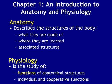 Chapter 1: An Introduction to Anatomy and Physiology Anatomy Describes the structures of the body: –what they are made of –where they are located –associated.