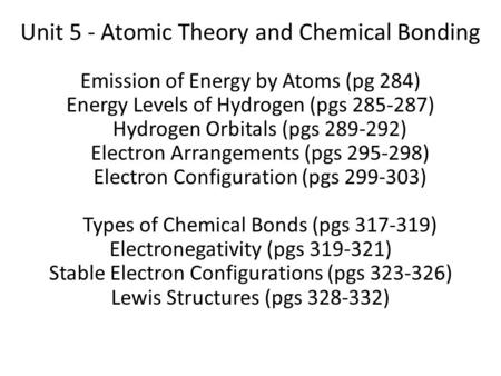 Unit 5 - Atomic Theory and Chemical Bonding Emission of Energy by Atoms (pg 284) Energy Levels of Hydrogen (pgs 285-287) Hydrogen Orbitals (pgs 289-292)