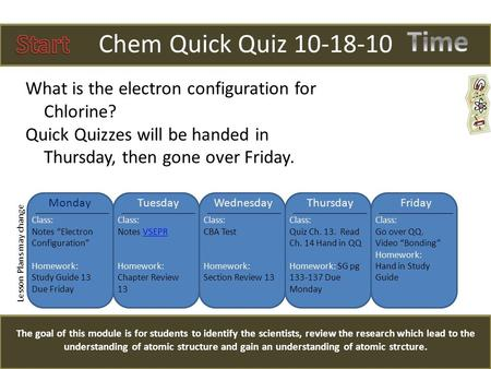 Chem Quick Quiz 10-18-10 The goal of this module is for students to identify the scientists, review the research which lead to the understanding of atomic.