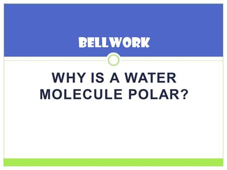 WHY IS A WATER MOLECULE POLAR? Bellwork. WATER BioChemistry.