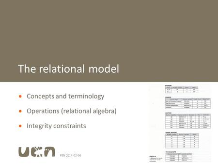 FEN 2014-02-061  Concepts and terminology  Operations (relational algebra)  Integrity constraints The relational model.