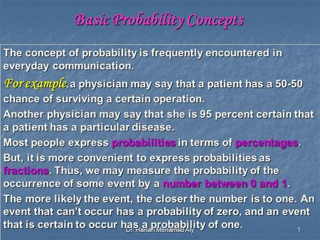 Dr. Hanan Mohamed Aly 1 Basic Probability Concepts The concept of probability is frequently encountered in everyday communication. For example, a physician.