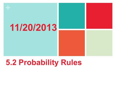 11/20/2013 5.2 Probability Rules.