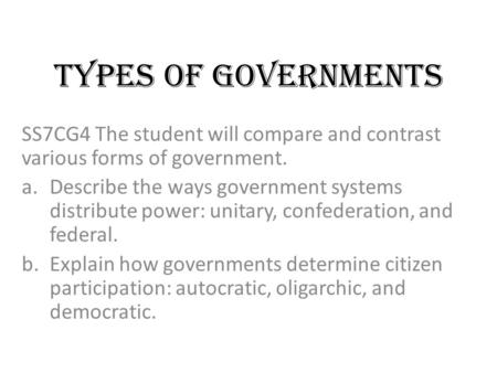Unitary Federal And Confederation Governments Ppt
