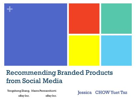 + Recommending Branded Products from Social Media Jessica CHOW Yuet Tsz Yongzheng Zhang, Marco Pennacchiotti eBay Inc. eBay Inc.